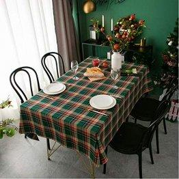 LHY DECORATION Klassische Karierte Weihnachtstischdecke Stoff Extra Große Tischdecke Für Dinnerpartys Zubehör Heimtextilien,Grün,140x250cm - 1