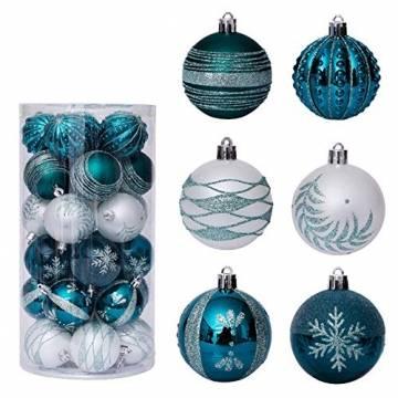 LICHENGTAI 30 Stück Weihnachtskugeln Weihnachtsdeko Set, 6 cm Kunststoff Weihnachtsbaumkugeln Box mit Aufhänger Christbaumkugeln Plastik Bruchsicher, Weihnachtsbaumschmuck für Festsdekoration - 1