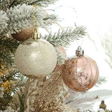 LICHENGTAI 30 Stück Weihnachtskugeln Weihnachtsdeko Set, 6 cm Kunststoff Weihnachtsbaumkugeln Box mit Aufhänger Christbaumkugeln Plastik Bruchsicher, Weihnachtsbaumschmuck für Festsdekoration - 5