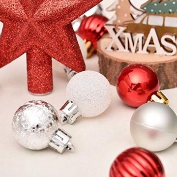 LICHENGTAI Weihnachtskugeln Weihnachtsdeko Christbaumschmuck Aufhänger, Kunststoff Weihnachtsbaumkugeln Box mit Weihnachtsbaum Topper, für Dekorationen Festival Dekore Weihnachtsbaumschmuck - 3