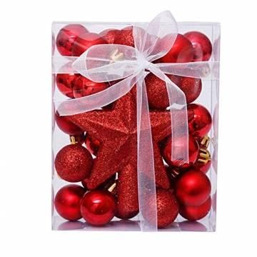 LICHENGTAI Weihnachtskugeln Weihnachtsdeko Christbaumschmuck Aufhänger, Kunststoff Weihnachtsbaumkugeln Box mit Weihnachtsbaum Topper, für Dekorationen Festival Dekore Weihnachtsbaumschmuck - 1