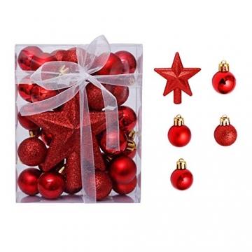 LICHENGTAI Weihnachtskugeln Weihnachtsdeko Christbaumschmuck Aufhänger, Kunststoff Weihnachtsbaumkugeln Box mit Weihnachtsbaum Topper, für Dekorationen Festival Dekore Weihnachtsbaumschmuck - 5