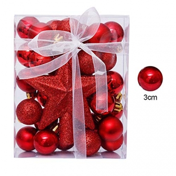 LICHENGTAI Weihnachtskugeln Weihnachtsdeko Christbaumschmuck Aufhänger, Kunststoff Weihnachtsbaumkugeln Box mit Weihnachtsbaum Topper, für Dekorationen Festival Dekore Weihnachtsbaumschmuck - 6