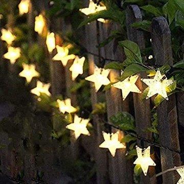 Lichterkette Außen Solar, FANSIR 7M Solarlichterkette Außen Wetterfest 8 Modi Solar Lichterkette Stern Garten für deko hochzeit balkon terrassen outdoor weihnachtsdeko 50 LEDs(Warmweiß) - 1