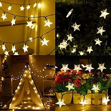 Lichterkette Außen Solar, FANSIR 7M Solarlichterkette Außen Wetterfest 8 Modi Solar Lichterkette Stern Garten für deko hochzeit balkon terrassen outdoor weihnachtsdeko 50 LEDs(Warmweiß) - 6