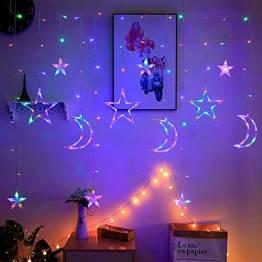 Lichterkette Bunt Sterne Mond, 3.5m*1.1m 8 Modi LED Fenster Lichterketten Vorhang Lichterkette für Zimmer Stimmungslichter ideale für Außenbeleuchtung und Innenbeleuchtung [Mehrfarbig] - 1