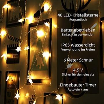 Lichterkette LED Lichterkette Sterne Batterie 6M 40LED Sterne Warmweiß Lichterkette mit Fernbedienung 8 Modi Wasserdicht Außen Innen Weihnachten Lichterketten für Zimmer Party Garten DIY Deko Metaku - 2