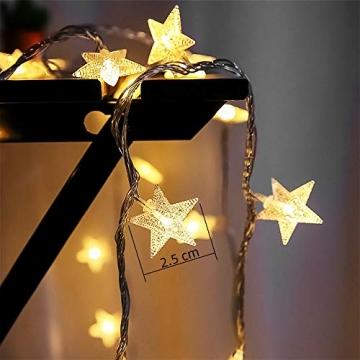 Lichterkette LED Lichterkette Sterne Batterie 6M 40LED Sterne Warmweiß Lichterkette mit Fernbedienung 8 Modi Wasserdicht Außen Innen Weihnachten Lichterketten für Zimmer Party Garten DIY Deko Metaku - 3