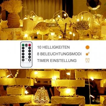Lichterkette LED Lichterkette Sterne Batterie 6M 40LED Sterne Warmweiß Lichterkette mit Fernbedienung 8 Modi Wasserdicht Außen Innen Weihnachten Lichterketten für Zimmer Party Garten DIY Deko Metaku - 4