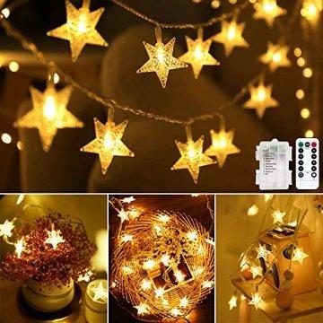 Lichterkette LED Lichterkette Sterne Batterie 6M 40LED Sterne Warmweiß Lichterkette mit Fernbedienung 8 Modi Wasserdicht Außen Innen Weihnachten Lichterketten für Zimmer Party Garten DIY Deko Metaku - 1