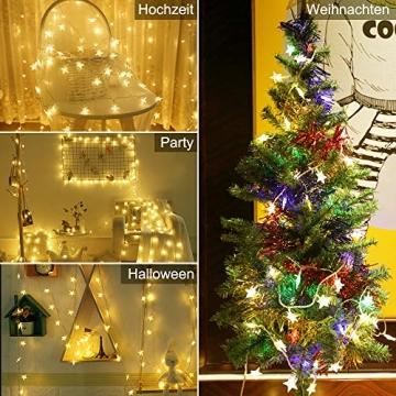 Lichterkette LED Lichterkette Sterne Batterie 6M 40LED Sterne Warmweiß Lichterkette mit Fernbedienung 8 Modi Wasserdicht Außen Innen Weihnachten Lichterketten für Zimmer Party Garten DIY Deko Metaku - 5