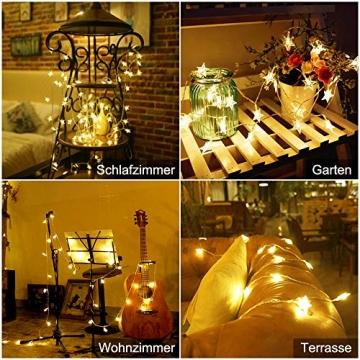 Lichterkette LED Lichterkette Sterne Batterie 6M 40LED Sterne Warmweiß Lichterkette mit Fernbedienung 8 Modi Wasserdicht Außen Innen Weihnachten Lichterketten für Zimmer Party Garten DIY Deko Metaku - 6
