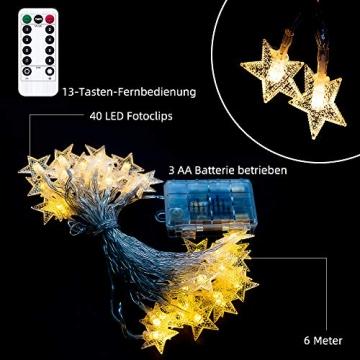 Lichterkette LED Lichterkette Sterne Batterie 6M 40LED Sterne Warmweiß Lichterkette mit Fernbedienung 8 Modi Wasserdicht Außen Innen Weihnachten Lichterketten für Zimmer Party Garten DIY Deko Metaku - 7