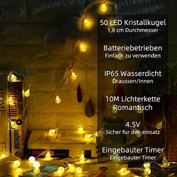 Lichterkette LED Lichterkette Warmweiß 5m 50LED Kristall Kugeln Lichterkette Batterie mit Fernbedienung 8 Modi Wasserdicht Außen Innen Weihnachten Lichterketten für Zimmer Party Garten DIY Deko Metaku - 2
