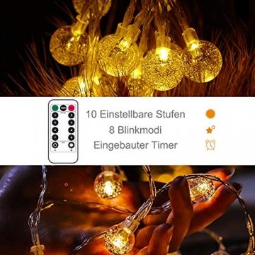 Lichterkette LED Lichterkette Warmweiß 5m 50LED Kristall Kugeln Lichterkette Batterie mit Fernbedienung 8 Modi Wasserdicht Außen Innen Weihnachten Lichterketten für Zimmer Party Garten DIY Deko Metaku - 3