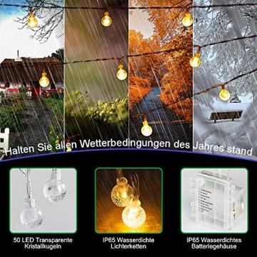 Lichterkette LED Lichterkette Warmweiß 5m 50LED Kristall Kugeln Lichterkette Batterie mit Fernbedienung 8 Modi Wasserdicht Außen Innen Weihnachten Lichterketten für Zimmer Party Garten DIY Deko Metaku - 4