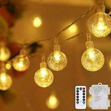 Lichterkette LED Lichterkette Warmweiß 5m 50LED Kristall Kugeln Lichterkette Batterie mit Fernbedienung 8 Modi Wasserdicht Außen Innen Weihnachten Lichterketten für Zimmer Party Garten DIY Deko Metaku - 1