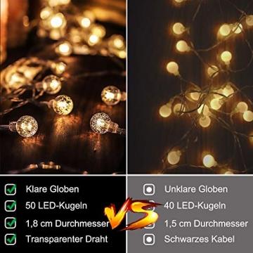 Lichterkette LED Lichterkette Warmweiß 5m 50LED Kristall Kugeln Lichterkette Batterie mit Fernbedienung 8 Modi Wasserdicht Außen Innen Weihnachten Lichterketten für Zimmer Party Garten DIY Deko Metaku - 5