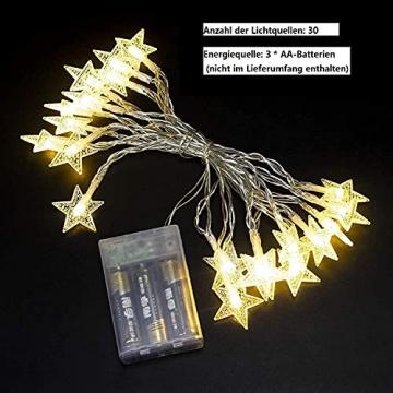 Lichterkette LED Sterne 3M 2Modi 20LEDs Batteriebetrieben innen&außen Dekoration Lichter für Fenster Tür Schlafzimmer Party Hochzeit Garten Festival Romantisch Warmweiß - 3