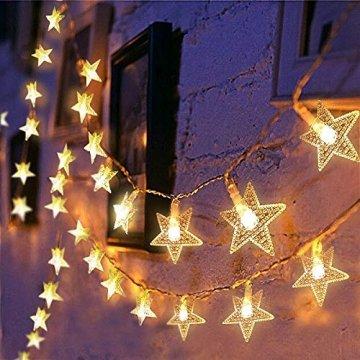 Lichterkette LED Sterne 3M 2Modi 20LEDs Batteriebetrieben innen&außen Dekoration Lichter für Fenster Tür Schlafzimmer Party Hochzeit Garten Festival Romantisch Warmweiß - 1