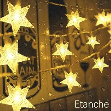 Lichterkette LED Sterne 3M 2Modi 20LEDs Batteriebetrieben innen&außen Dekoration Lichter für Fenster Tür Schlafzimmer Party Hochzeit Garten Festival Romantisch Warmweiß - 5