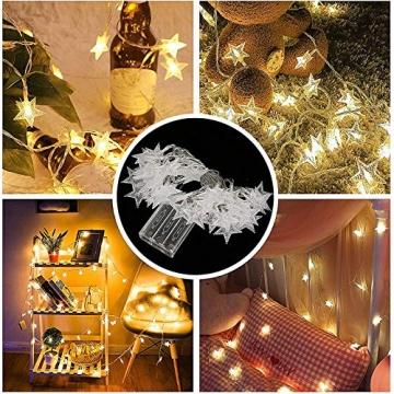 Lichterkette LED Sterne 3M 2Modi 20LEDs Batteriebetrieben innen&außen Dekoration Lichter für Fenster Tür Schlafzimmer Party Hochzeit Garten Festival Romantisch Warmweiß - 6