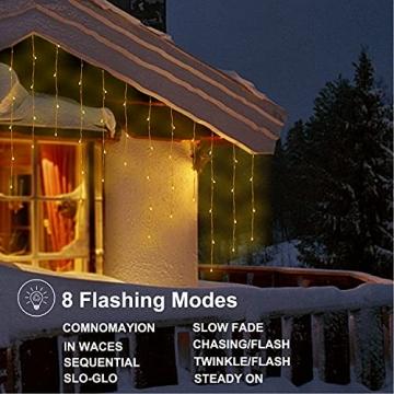 Lichtervorhang Aussen, Lichterkette Außen Innen 10M 400LED Eisregen Lichterkette Strom IP44, 8 Modi Lichtvorhang Für Zimmer, Traufe, Treppe, Geländer, Weihnachten, Party Deko - 3