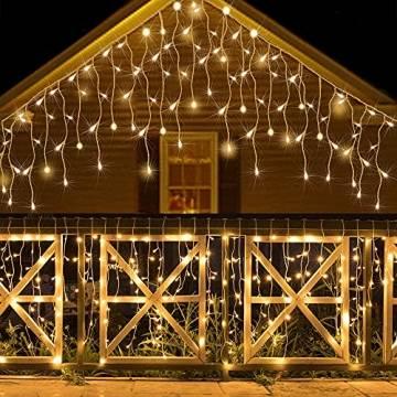 Lichtervorhang Aussen, Lichterkette Außen Innen 10M 400LED Eisregen Lichterkette Strom IP44, 8 Modi Lichtvorhang Für Zimmer, Traufe, Treppe, Geländer, Weihnachten, Party Deko - 1