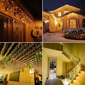 Lichtervorhang Aussen, Lichterkette Außen Innen 10M 400LED Eisregen Lichterkette Strom IP44, 8 Modi Lichtvorhang Für Zimmer, Traufe, Treppe, Geländer, Weihnachten, Party Deko - 7