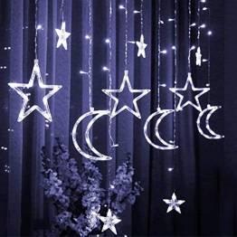 Lichtervorhang Fenster led,Lichterkette,Lichtervorhang Lichter Weihnachtsbeleuchtung,LED Lichterkette,Lichtervorhang Fenster Sterne,LED Sterne Lichterkette,LED Lichtervorhang Lichterkette - 1