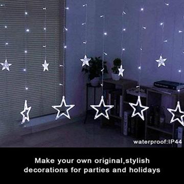Lichtervorhang Fenster led,Lichterkette,Lichtervorhang Lichter Weihnachtsbeleuchtung,LED Lichterkette,Lichtervorhang Fenster Sterne,LED Sterne Lichterkette,LED Lichtervorhang Lichterkette - 4