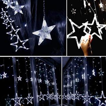Lichtervorhang Fenster led,Lichterkette,Lichtervorhang Lichter Weihnachtsbeleuchtung,LED Lichterkette,Lichtervorhang Fenster Sterne,LED Sterne Lichterkette,LED Lichtervorhang Lichterkette - 5