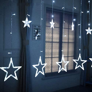 Lichtervorhang Fenster led,Lichterkette,Lichtervorhang Lichter Weihnachtsbeleuchtung,LED Lichterkette,Lichtervorhang Fenster Sterne,LED Sterne Lichterkette,LED Lichtervorhang Lichterkette - 6