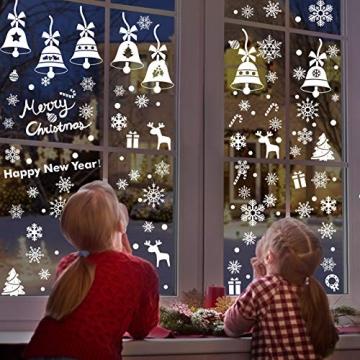 Lifelf Weihnachten Aufkleber Sticker, Weihnachtsdekoration Fensterdeko mit typischen Motiven, Schneeflocke Tannenbaum Rentier, Fensteraufkleber für Zuhause Tür Vitrinen Schaufenster - 3