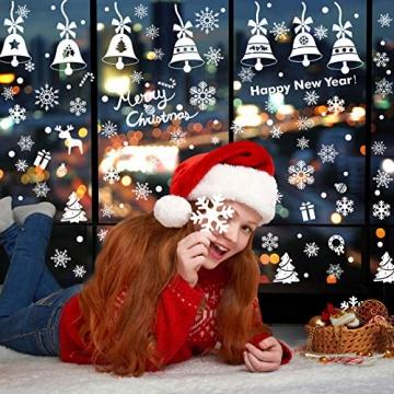 Lifelf Weihnachten Aufkleber Sticker, Weihnachtsdekoration Fensterdeko mit typischen Motiven, Schneeflocke Tannenbaum Rentier, Fensteraufkleber für Zuhause Tür Vitrinen Schaufenster - 4