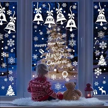 Lifelf Weihnachten Aufkleber Sticker, Weihnachtsdekoration Fensterdeko mit typischen Motiven, Schneeflocke Tannenbaum Rentier, Fensteraufkleber für Zuhause Tür Vitrinen Schaufenster - 1