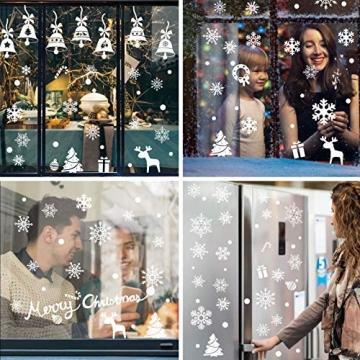 Lifelf Weihnachten Aufkleber Sticker, Weihnachtsdekoration Fensterdeko mit typischen Motiven, Schneeflocke Tannenbaum Rentier, Fensteraufkleber für Zuhause Tür Vitrinen Schaufenster - 5