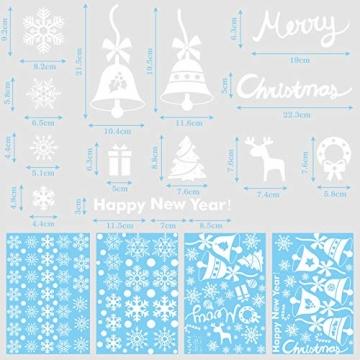 Lifelf Weihnachten Aufkleber Sticker, Weihnachtsdekoration Fensterdeko mit typischen Motiven, Schneeflocke Tannenbaum Rentier, Fensteraufkleber für Zuhause Tür Vitrinen Schaufenster - 7
