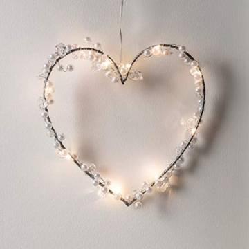 Lights4fun 10er Micro LED Herz Silhouette perlweiß Batteriebetrieb mit Perlen Timer - 1