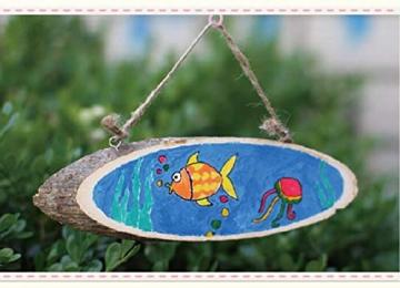 Liuer Rund Natur Holzscheiben 3PCS Holz Log Scheiben mit Baumrinde Unbehandeltes DIY Handwerk Dekoration Holz Tischdeko Hochzeits Weihnachten Baum Anhänger (1CM Dicke) - 5