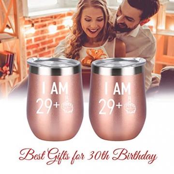 Livole 30. Geburtstagsgeschenke Edelstahl Weinbecher, 30th Geburtstags Geschenke für Frauen, 12oz Weinglas mit Deckel und Strohhalmpinsel, Vakuumisolierte Reisekaffeetasse für Wein Getränke Champagner - 2