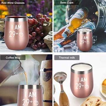 Livole 30. Geburtstagsgeschenke Edelstahl Weinbecher, 30th Geburtstags Geschenke für Frauen, 12oz Weinglas mit Deckel und Strohhalmpinsel, Vakuumisolierte Reisekaffeetasse für Wein Getränke Champagner - 3