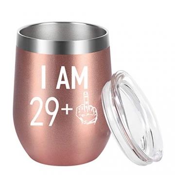 Livole 30. Geburtstagsgeschenke Edelstahl Weinbecher, 30th Geburtstags Geschenke für Frauen, 12oz Weinglas mit Deckel und Strohhalmpinsel, Vakuumisolierte Reisekaffeetasse für Wein Getränke Champagner - 9