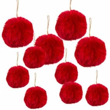 Logbuch-Verlag 10 rote Weihnachtskugeln aus Plüsch - Christbaumkugeln dunkelrot Bordeaux Pompon Bommel - Plüschkugel Weihnachtsbaum - 1