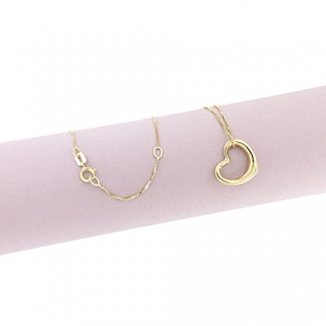 Lucchetta Schmuck, Goldkette Damen 585 Echtgold, Halskette Anhänger Herz 14 karat Gelbgold, Echtgoldkette, 45cm - 3