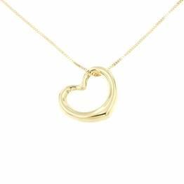 Lucchetta Schmuck, Goldkette Damen 585 Echtgold, Halskette Anhänger Herz 14 karat Gelbgold, Echtgoldkette, 45cm - 1