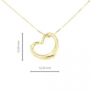 Lucchetta Schmuck, Goldkette Damen 585 Echtgold, Halskette Anhänger Herz 14 karat Gelbgold, Echtgoldkette, 45cm - 4