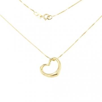 Lucchetta Schmuck, Goldkette Damen 585 Echtgold, Halskette Anhänger Herz 14 karat Gelbgold, Echtgoldkette, 45cm - 5