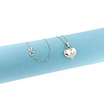 Lucchetta Schmuck, Goldkette Damen 750 Echtgold mit Diamant, Halskette Anhänger Herz 18 karat Weißgold, Echtgoldkette, 45cm - 3