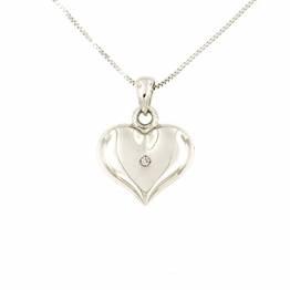 Lucchetta Schmuck, Goldkette Damen 750 Echtgold mit Diamant, Halskette Anhänger Herz 18 karat Weißgold, Echtgoldkette, 45cm - 1
